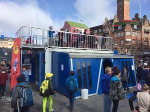 Klimatilpasnings-containeren på Rådhuspladsen til Forskningens Døgn