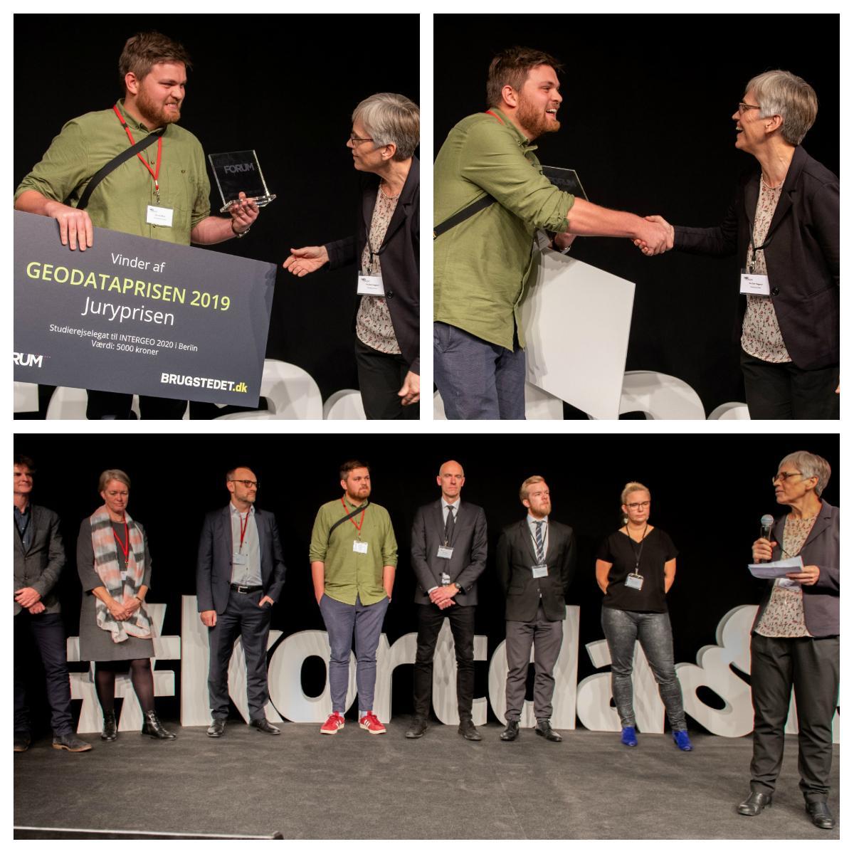 Rasmus Ekman tager imod geodataprisen 2019. Billedet er fra Geodatastyrelselsen på LinkedIn.